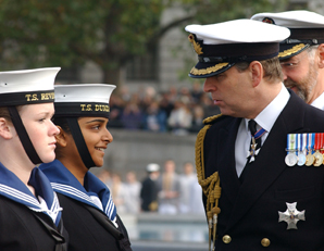 His royal highness prince andrew inspects some of the sea cadets on parade in trafalgar square on 23rd october 2003.